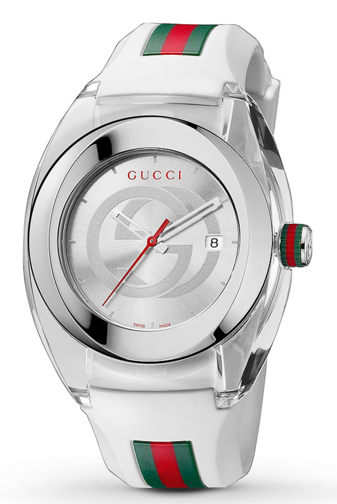 840f3570200 Gucci Sync XXL Swiss Date Silver Dial White Rubber 46MM Unisex Watch  YA137102 SD 731903343337