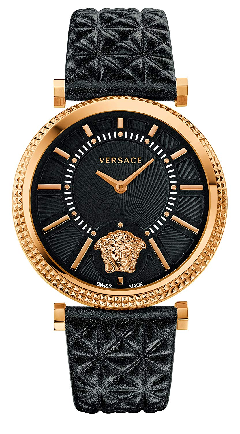 4414a7ea60f Details about Versace V-Helix Swiss Rose Gold Tone Black Dial Leather  Women s Watch VQG040015