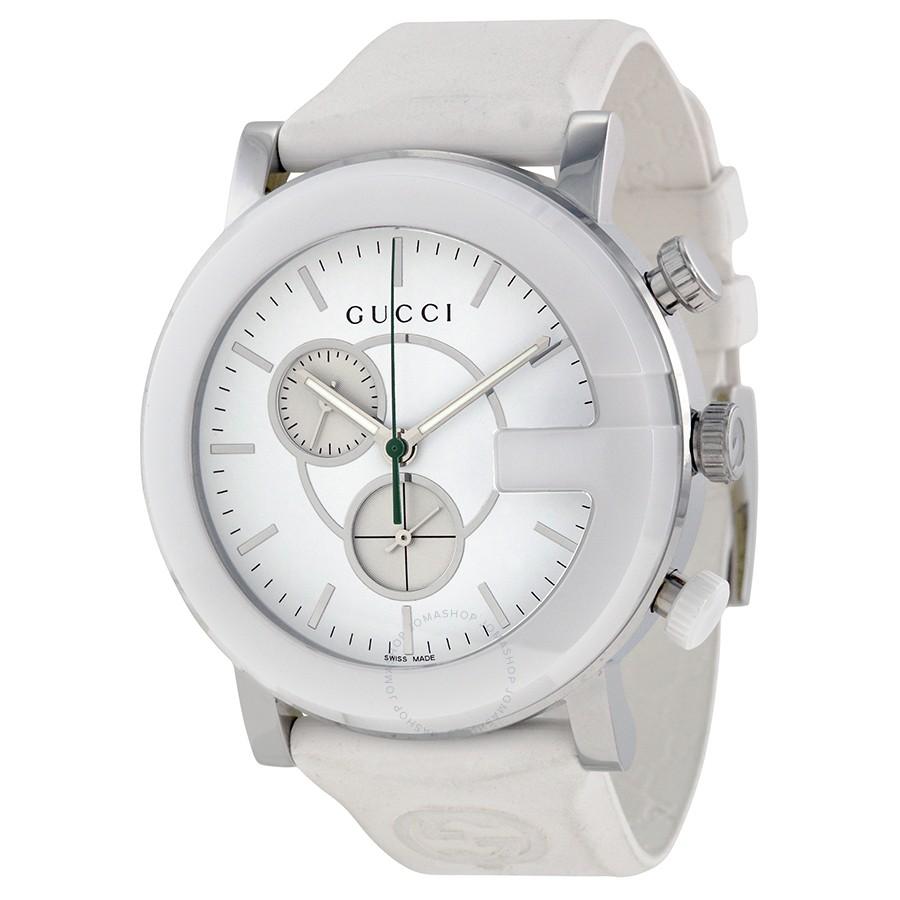 b5793a0e91e Gucci G-Timeless Sapphire Chronograph White Dial Rubber Men s Watch  YA101346 731903327269