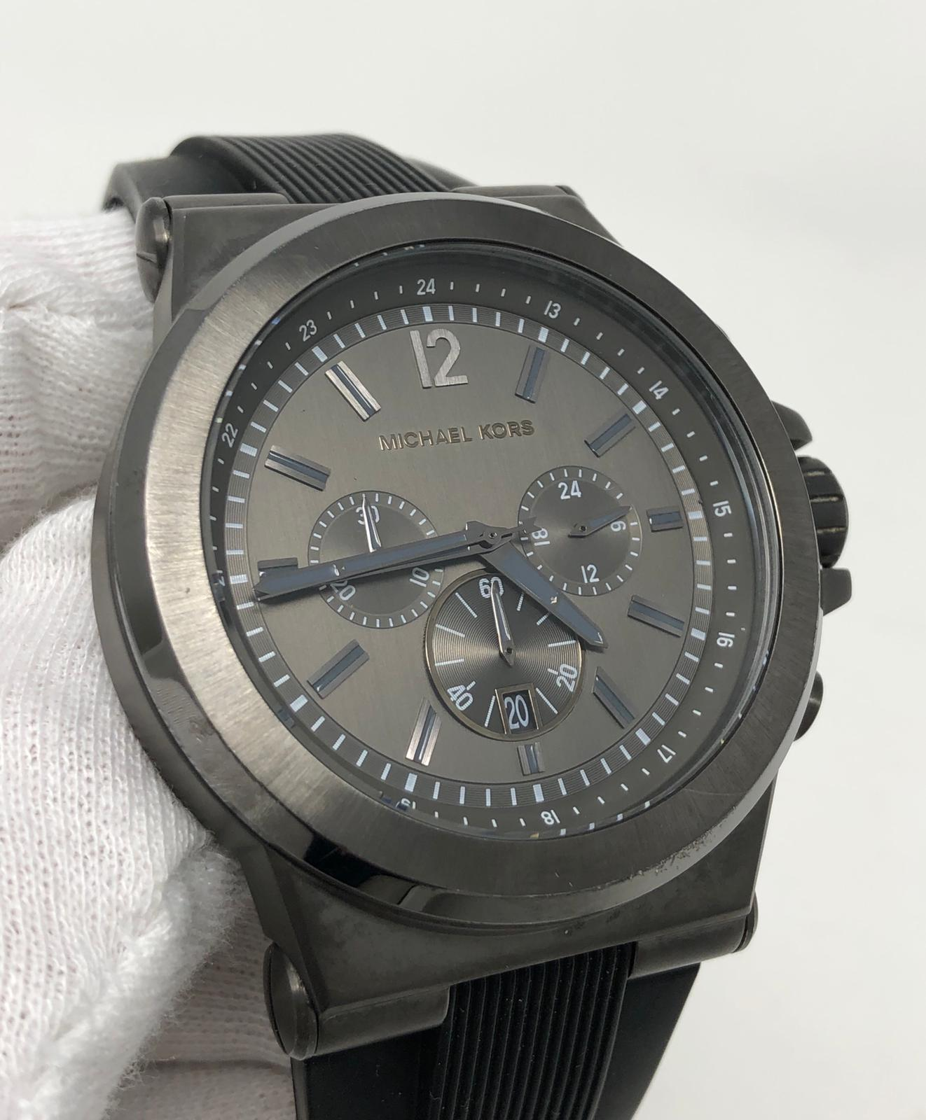 630b0312caa1 Michael Kors Dylan Chronograph Gray Dial Black Silicone Mens Watch MK8206  SD9 691464757465