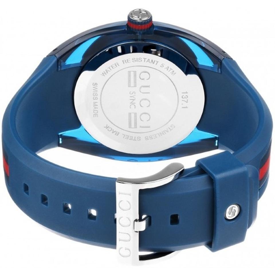 f4ed5849282 Gucci Sync XXL Swiss Date Blue Dial Blue Rubber 46MM Unisex Watch YA137104  SD 731903343351